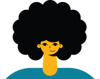 Illustrated friendly woman smiling with curly dark hair