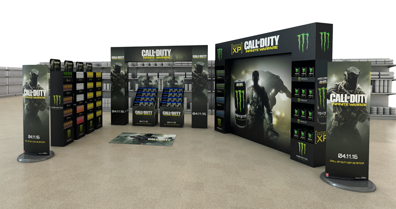 Big promotional stands for monster energy featuring call of duty